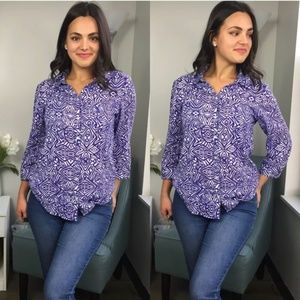 Chico's Blue Patterned Button Down Blouse